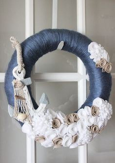 Nautical Wreath Beach Blue White Tan Sand Home by TheLandofCraft, $55.00