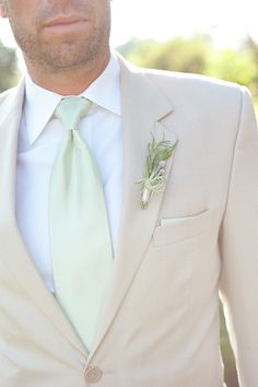 tan suit | Nate Henderson #wedding | maybe, might like black better but I like tan too.