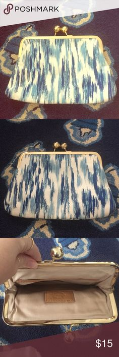 Blue and white Clutch Blue and white clutch with kisslock closure. Adorned with gold accents. Great bag for special events. Big enough to hold smartphones, sunglasses, and money etc. never used! Bags Clutches & Wristlets