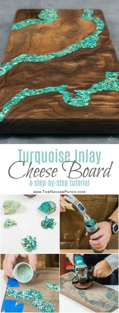 Woodworking Tips Beautiful handmade cheese board - In this tutorial, I will show you how to make a cheese board with turquoise inlay. I'll also teach you how to make your own crushed turquoise from raw ore. Art Resin, Resin Crafts, Wood Crafts, Wie Macht Man, Diy Cutting Board, Wood Cutting, Diy Kitchen Decor, Turquoise Kitchen Decor, Kitchen Decorations
