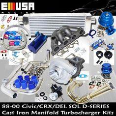 Turbo Kit D Series Honda Civic Del Sol DOHC D15 D16 88-00 Precision Turbo Charger  www.LearnAutomotiveKnowledgeOnline.com