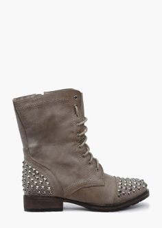 studded gray combat boots