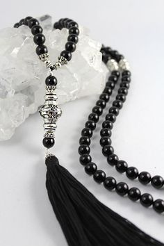 Onyx Mala Bead Necklace Black Onyx Mala by goodmedicinegemstone