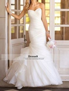 Sexy White / Ivory Mermaid Beach Wedding Dress Sweetheart Organza Wedding Gowns, Strapless Wedding Dresses