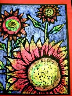 scratch art oil pastel sunflowers.. reminds me of a tempera paint exercise we did in art school