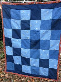 Denim Patchwork Lap Quilt Throw Baby Play Mat by TheRoyaleRagbag