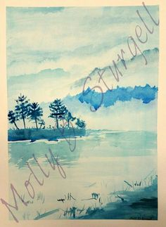 #Watercolor #blue #trees By Molly B. Sturgell
