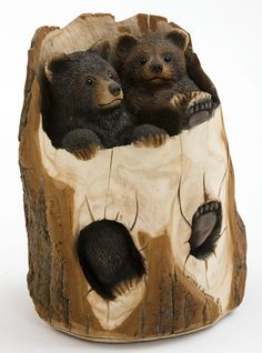 Image detail for -Carved Bears in Log