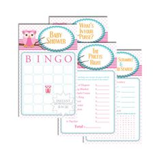Pink Owl Baby Shower Cards-Baby Shower by AllbyWanda on Etsy