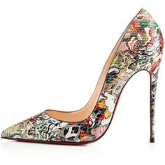 Christian Louboutin So Kate (€1.255) ❤ liked on Polyvore featuring shoes, pumps, heels, christian louboutin, multi, new arrivals, pointy toe stiletto pumps, high heel pumps, snake print pumps and pointed toe stilettos