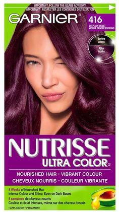 Garnier Nutrisse Ultra Color in 416 Intense Violet. Purple Burgundy Hair, Short Purple Hair, Violet Hair Colors, Dyed Hair Purple, Long Dark Hair, Hair Color Purple, Hair Color And Cut, Hair Dye Colors, Pelo Color Vino