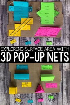 These FREE pop-up nets are the perfect resource for teaching surface area. Teaching Geometry, Geometry Activities, Shape Activities, Illustrations Techniques, Teaching Critical Thinking, Triangular Prism, Area And Perimeter, Math Projects, Free Math