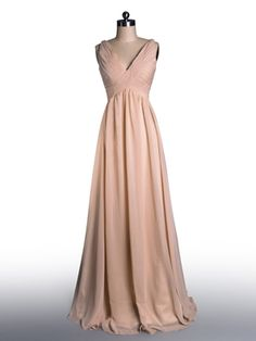 Simple Flowy Peach Pleated V-neck Bridesmaid Dress [TBQP099] - $149.00 : Custom Made Wedding, Prom, Evening Dresses Online   Tulle & Chantilly