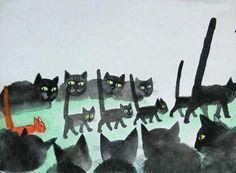 Cats in Art and Illustration|Jozef Wilkon : Rosalind das katzen kind