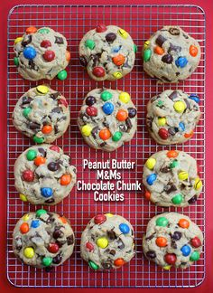 Jumbo chocolate chunk cookies kissed with peanut butter M&M's.