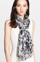 St. John Collection Animal Print Silk Georgette Scarf