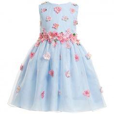 Lesy Luxury Flower - Blue Silk Dress with Pink Flowers Blue Silk Dress, Green Floral Dress, Little Girl Dresses, Girls Dresses, Baby Dresses, Dress Girl, Dress Outfits, Kids Outfits, Floral Outfits