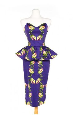 Pinup Girl Clothing- Man Trap Dress in Venus Fly Trap Print Sateen with Peplum | Pinup Girl Clothing