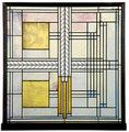 Stained glass panel in a Frank Lloyd Wright design