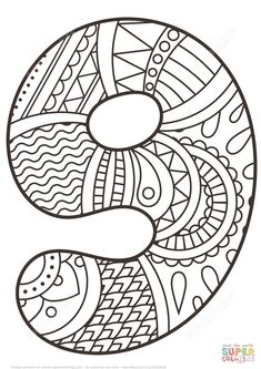Number 9 Zentangle coloring page from Zentangle Numbers category. Select from 31983 printable crafts of cartoons, nature, animals, Bible and many more. Mandala Coloring, Colouring Pages, Coloring Pages For Kids, Coloring Sheets, Adult Coloring, Zentangle, Printable Animals, Printable Crafts, Doodle
