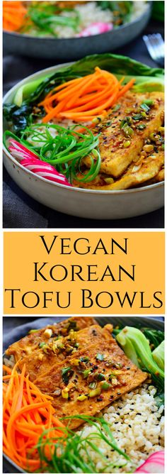 These Korean tofu bowls are simple to put together and feature pan-seared tofu in a savoury, spicy gochugaru sauce, quick pickled carrots, garlicky bok choy and fresh radishes all on a bed of rice. A filling and delicious whole vegan meal in a bowl!