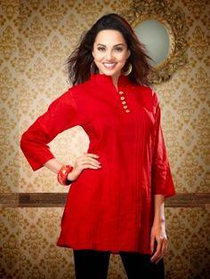 Red Pure Cotton Kurti