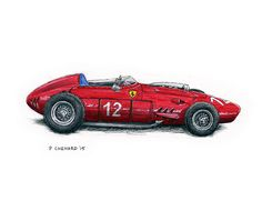 1959 Ferrari 246 Dino F1 Sketched live at the 2015 Goodwood Revival.  Pencil, pen&ink, markers and Jack Daniels Honey Whiskey on watercolour paper. © Paul Chenard 2015  Original art available.