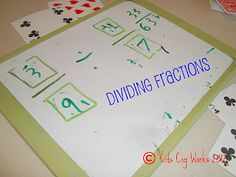 The Tutor House: Dividing Fractions Card Game. CCSS Use playing cards to change up practicing dividing fractions. Dividing Fractions, Teaching Fractions, Math Fractions, Teaching Math, Teaching Ideas, Maths, I Love Math, Fun Math, Math Games