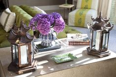 green beige aqua purple coffee table vignette