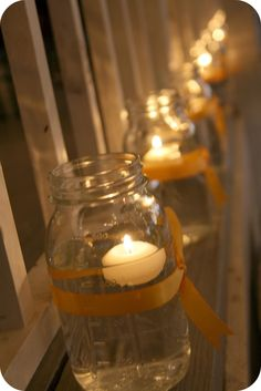 This looks easy and grouped together could produce nice lighting outdoor. Using leftover floating candles from you know who's wedding