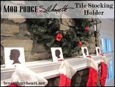 DIY Inexpensive Tile Silhouette Christmas Stocking Holders