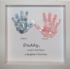 Button Handprint Personalised Daddy Gift Handprints For Dad Art Sons First Hero Fathers Day From Children