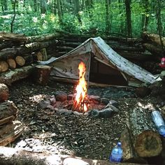 Camping & Tents | Woodland retreat with log walls, benches & a rustic stone fire pit