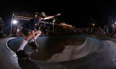 A skateboarder performs at the Pretty Poison bar and skate park – in front of a crowd of nighttime visitors – in Bali, Indonesia. Underground Bar, Bali Baby, Bali Holidays, Bohemian Beach, Bondi Beach, Indie Movies, Skate Park, Get Some, Beach Resorts