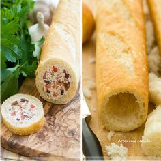 Vacía una baguette e introduce el relleno que más te guste, por ejemplo crema de queso con jamón cocido y piña.