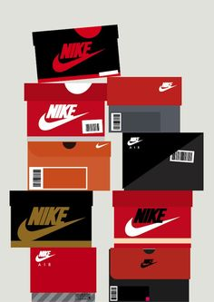Sneaker Box Illustrations Chart The Evolution Of Nike And Other Sports Brands - DesignTAXI.com