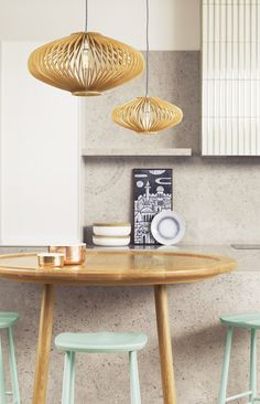 beacon lighting stockholm flair squat pendant in natural wood with