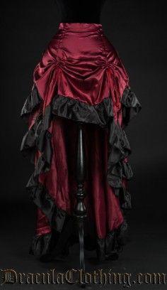 Red Satin Layer Bustle Skirt