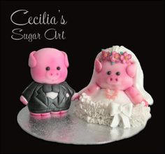 Wedding bride & groom Pigs Cake toppers by Cecilia This Little Piggy, Little Pigs, Cupcake Toppers, Cupcake Cakes, Piggy Cake, Pig Stuff, Cute Piggies, Sugar Cake, Flying Pig