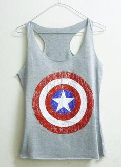 Teenage girl tank top XS captain america shirt super hero Grey women singlet sleeveless on Etsy, $12.00