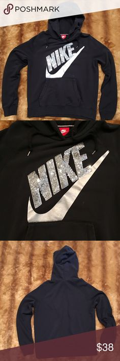 Nike Rally Sequined Hoodie Your new favorite hoodie! Only worn twice! Super soft. No fading. Size Large. I'm a Medium and it works as well. Silver sequins make it feminine. Front pocket 🙌🏼 Nike brand you love and trust 👌🏼 Nike Tops Sweatshirts & Hoodies