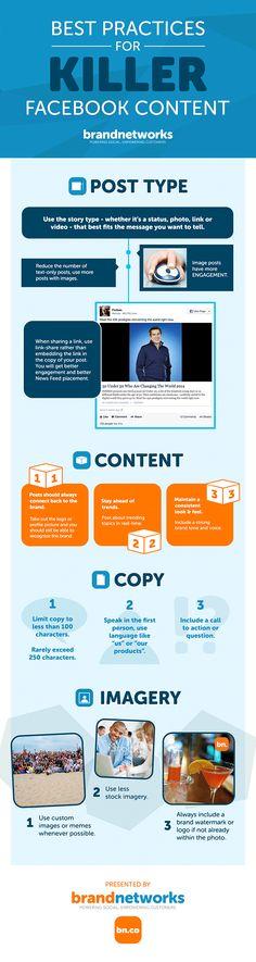 Best practices for killer FaceBook content #infografia #infographic #socialmedia