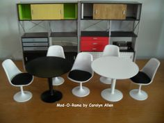Saarinen Table and two chairs. A perfectly MOD  1:6 scale set by modorama on Etsy https://www.etsy.com/listing/101294895/saarinen-table-and-two-chairs-a