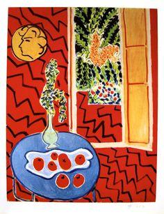 """Henri MATISSE, signed Heliolitho """"Intérieur rouge"""" 1953"""