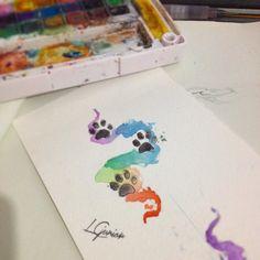 Patinhas • arte feita para cliente • #watercolor #aquarela #tattoo #tatuagem #pet #cat #dog #watercolortattoo #patinhas #lcjunior