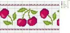 Cerejas ponto cruz Cross Stitch Fruit, Cross Stitch Kitchen, Just Cross Stitch, Cross Stitch Borders, Cross Stitch Charts, Cross Stitching, Cross Stitch Patterns, Blackwork Embroidery, Cross Stitch Embroidery