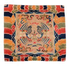 antique tibetan dragon and phoenix rug at mahakala fine arts