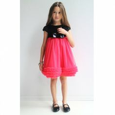 Innocence Velvet and Tulle Dress Velvet Tops, Cotton Velvet, Fashion Design For Kids, Kids Fashion, Pink Tulle, Tulle Dress, Black Velvet, Black Cotton, Girls Dresses