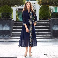 Blue Floral Embroidered Work Kurti