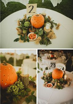 Pumpkin centerpiece w/lots of greenery as well as votives.  This one is interesting because it's on a round table, which is what you'll have, yes?